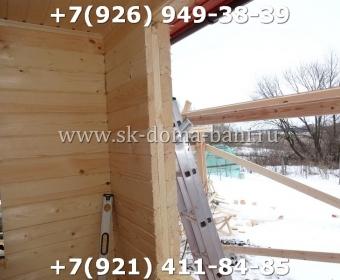 Одноэтажная баня под ключ с печкой из сухого бруса 140х140 мм 102