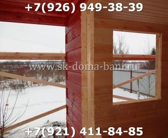Одноэтажная баня под ключ с печкой из сухого бруса 140х140 мм 107