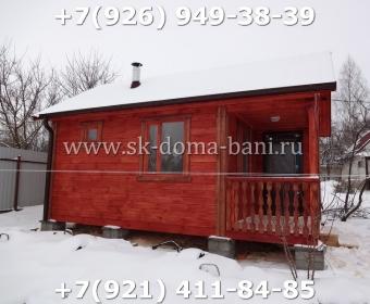 Одноэтажная баня под ключ с печкой из сухого бруса 140х140 мм 118