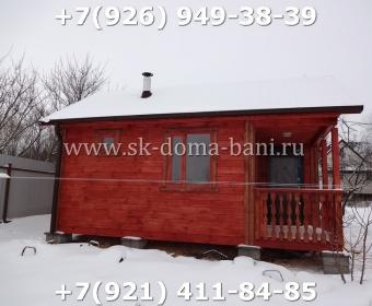 Одноэтажная баня под ключ с печкой из сухого бруса 140х140 мм 119