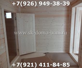 Одноэтажная баня под ключ с печкой из сухого бруса 140х140 мм 141