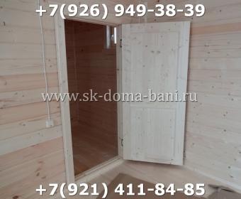 Одноэтажная баня под ключ с печкой из сухого бруса 140х140 мм 142