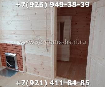 Одноэтажная баня под ключ с печкой из сухого бруса 140х140 мм 143