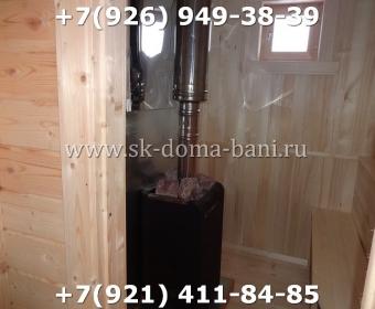 Одноэтажная баня под ключ с печкой из сухого бруса 140х140 мм 145