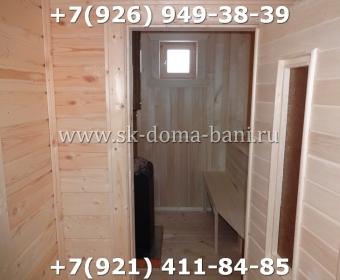Одноэтажная баня под ключ с печкой из сухого бруса 140х140 мм 147