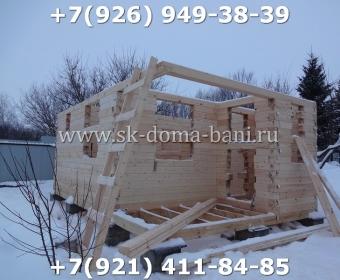 Одноэтажная баня под ключ с печкой из сухого бруса 140х140 мм 26