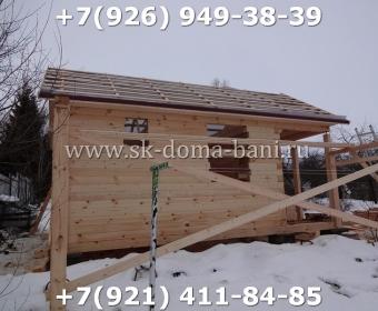 Одноэтажная баня под ключ с печкой из сухого бруса 140х140 мм 48