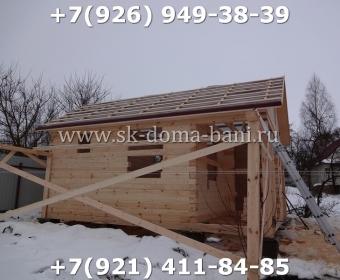 Одноэтажная баня под ключ с печкой из сухого бруса 140х140 мм 51