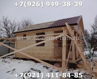 Одноэтажная баня под ключ с печкой из сухого бруса 140х140 мм 55