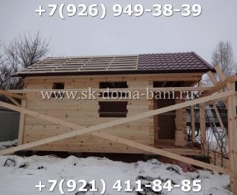 Одноэтажная баня под ключ с печкой из сухого бруса 140х140 мм 58