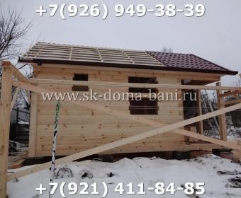 Одноэтажная баня под ключ с печкой из сухого бруса 140х140 мм 59