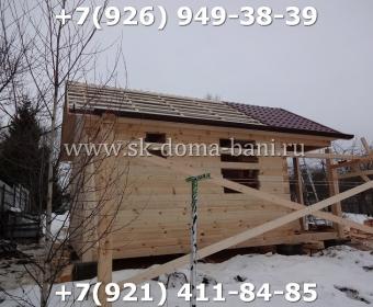 Одноэтажная баня под ключ с печкой из сухого бруса 140х140 мм 61