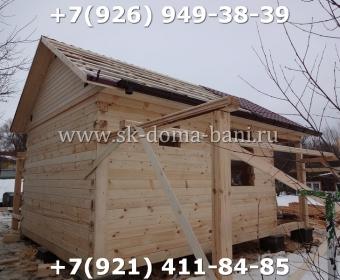 Одноэтажная баня под ключ с печкой из сухого бруса 140х140 мм 62