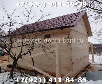 Одноэтажная баня под ключ с печкой из сухого бруса 140х140 мм 65