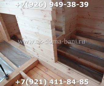 Одноэтажная баня под ключ с печкой из сухого бруса 140х140 мм 75