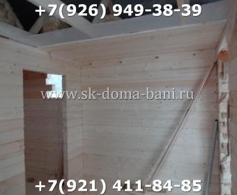 Одноэтажная баня под ключ с печкой из сухого бруса 140х140 мм 91